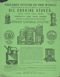 Advert for Wright & Butler's oil cooking stoves